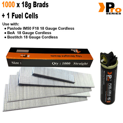 18g Brads: Sizes available 15mm - 50mm Brads -  1000 Brad Pack + 1 Fuel Cell