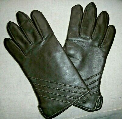 PAIR VINTAGE BROWN FAUX LEATHER  LADIES GLOVES size 6 1/2-7 ~FUR CUFF