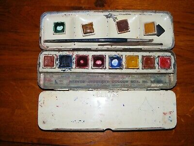 VINTAGE REEVES STUDENT'S WATERCOLOUR BOX No 52 USED
