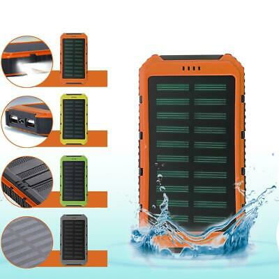 Waterproof 10000mAh Solar Power Bank Dual USB Battery Charger For Moblie Phone