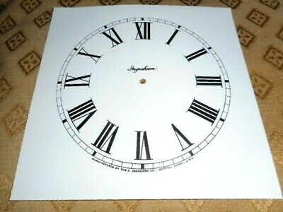 "Ingrahams Square Paper (Card) Clock Dial - 9 1/2"" M/T - MATT WHITE-Parts/Spares"