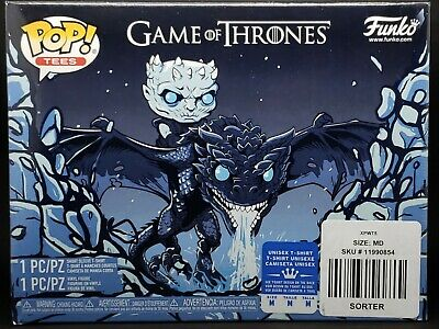Funko Pop & Tee Bundle! Game of Thrones #22 Icy Viserion GITD Boxlunch + Tee (M)