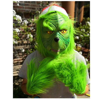 The Grinch Full Head Latex Mask Wig And Xmas Hat Monster Adult Costume XMAS Prop