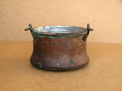 Old Antique Primitive Bowl Bucket Vessel Kettle Pot Hand Wrought Copper 1920's.