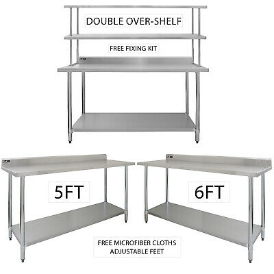 Catering Stainless Steel Table Commercial Overshelf Kitchen Prep Bench Shelves