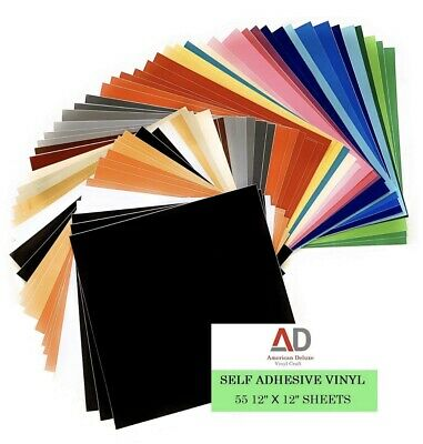 """Self Adhesive Vinyl Sheets, 55 Pack 12""""x12"""" for Cricut, Silhouette Cameo Cutters"""