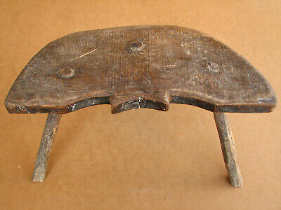 Old Antique Primitive Wooden Wood Chair Three Legged Milking Stool Tripod 19th.