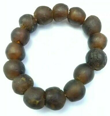 Antique Afghan Roman Glass Old Rare Ancient Round Brown Beads Bracelet Jewelry