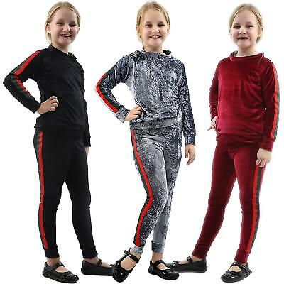 Kids Girls Velour Hooded Side Stripe Tracksuit Top Bottom Velvet Lounge Wear