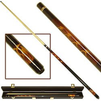 Red Skull 2 Piece Pool Stick with Case Billiard Cue 58 Inches with Removeable Ti