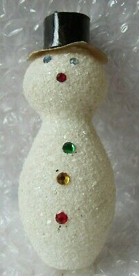 Antique / Vintage Glass Snow Encrusted Snowman Jeweled Christmas Ornament