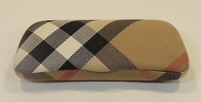 Burberry Signature Eye Sun Glasses Brown Black Red Hard Case Clam Plaid Italy