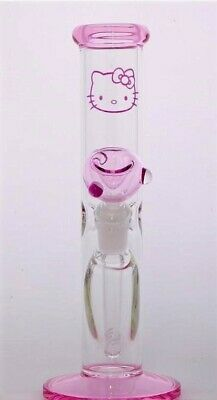 Hello Kitty Cat Cartoon Hookah White Pipe Bong Tobacco Smoking Glass Herb Bowl