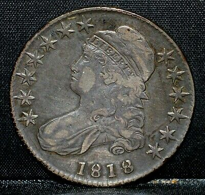 1818 Capped Bust Half ✪ Vf Very Fine ✪ 50C Silver Pincher 8 O-108 ◢Trusted◣