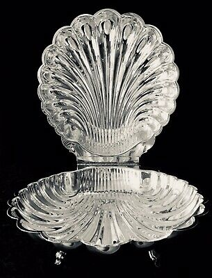 Vintage LEONARD SILVERPLATE HINGED LID SWAN / CLAMSHELL Covered Serving Dish VGC