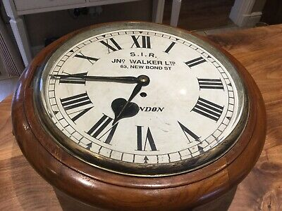 John Walker 1950's Fusee Movement Mahogany Cased Wall Clock