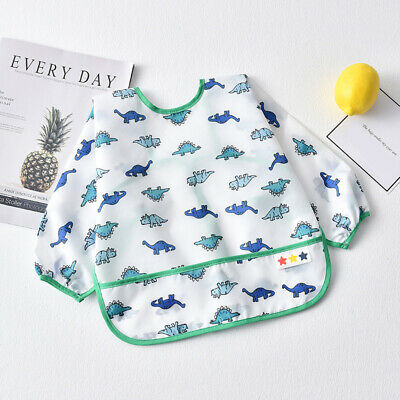 Toddler Baby Kid Feeding Bibs Smock Apron Waterproof Long Sleeves Cartoon Print