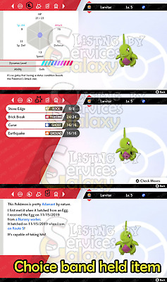 6IV Shiny Larvitar for Pokemon Sword and Shield ! Max EV! Dynamax lvl 10!