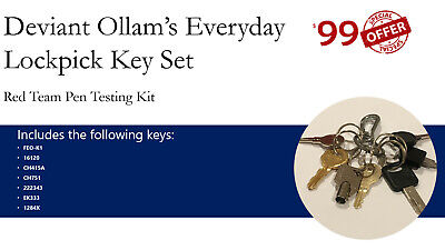 Deviant Ollam Penetration (Pen) Testing Key Set for Lock Picking/Red Team Entry