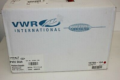 VWR 10799-194 Disposable Petri-Dishes, Polystyrene, Sterile, 100x20MM Deep,