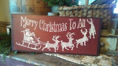 Primitive Sign Wooden Sign ~ Merry Christmas to All ~ Christmas ~ Awesome