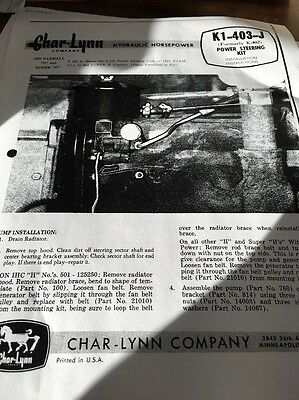 Char Lynn Power Steering Installation Instructions H & Super H