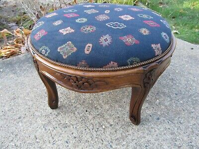 Antique French Footstool Louis Style Carved Walnut Wood Restored