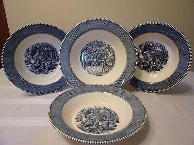 Royal China Currier And Ives Four Vegetable Bowls