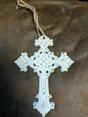 Ornamental Cast Iron Cross Crucifix Hanging Shabby Look Antiqued