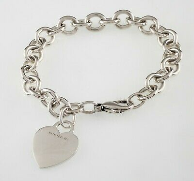 Tiffany & Co. Sterling Silver Blank Heart Tag Charm Bracelet Retails for $335