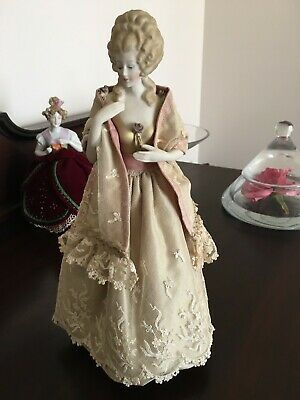 """Porcelain Half Doll """"Alicia""""  painted in gold with flowers"""
