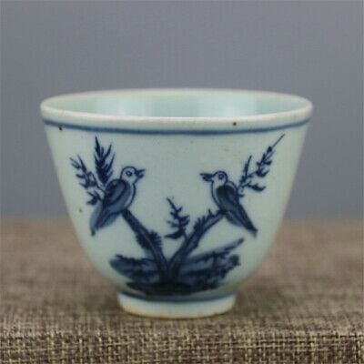 """2.76""""China Antique Blue and white Porcelain painting bird pattern cup teacup"""