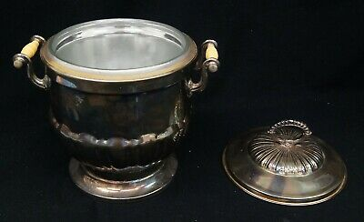 Vintage Silverplate Ice Bucket w/ Top Lucite Antique A8477