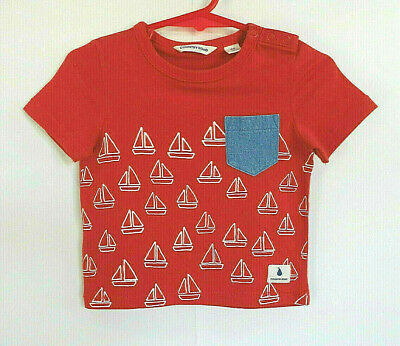 Baby Boy's Red T-Shirt with Sailing Boats - Size 00 - Brand: Country Road