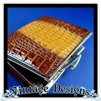 Vintage Wallet CROCODILE skin retro small wallet brown retro croc leather purse