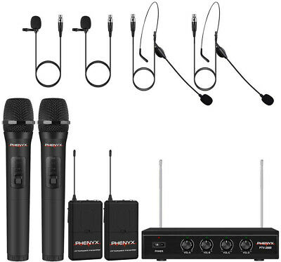 Wireless Microphone System, Phenyx Pro 4-Channel VHF Wireless Microphone Set