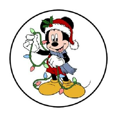 """48 Mickey Mouse Christmas!! Sticker Label Envelope Seals 1.2"""" Round"""