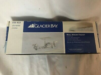 Glacier Bay Wall Mount Faucet Bathroom/Kitchen Farmhouse with Soap Holder Chrome