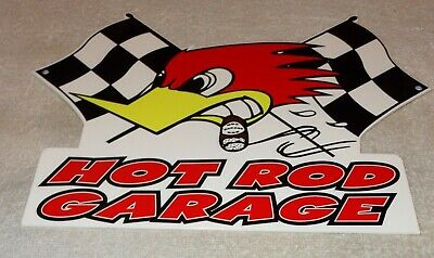 "Vintage Hot Rod Garage Thrush Automotive Woodpecker! 14"" Metal Gasoline Oil Sign"