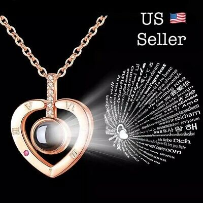 I LOVE YOU in 100 Languages Light Projection Heart Necklace Girlfriend Couple