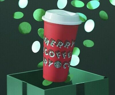 "NEW Reusable Grande Red Starbucks Holiday 2019 ""Merry Coffee"" Hot/Cold Cup w/Lid"