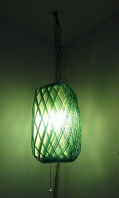 Vtg 1960s Mid Century Modern Spaghetti Lucite Light Green Blue Hanging Swag Lamp