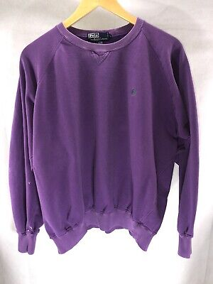 Vintage 90s Ralph Lauren Mens Large Distressed Purple Crewneck Sweatshirt