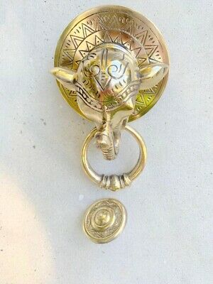 heavy cast ELEPHANT trunk front Door Knocker SOLID 100%  BRASS polished banger B