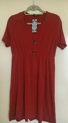 Boohoo maternity horn button smock dress size 8 rust colour