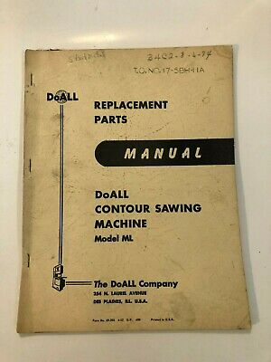 DoAll Replacement Parts Manual for Contour Sawing Machine Model- ML all Diagrams