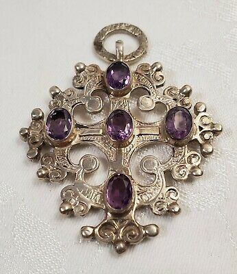 800 Silver Crusader, Crucifix, Cross, With Purple Stones Necklace Pendant