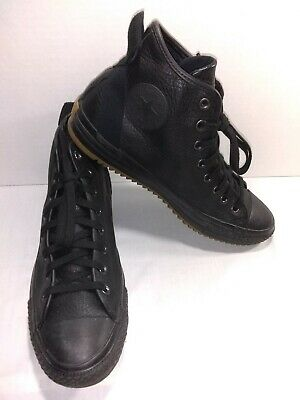 Converse Chuck Taylor All Star Boot Hi Top Pebbled Leather Black Size 11