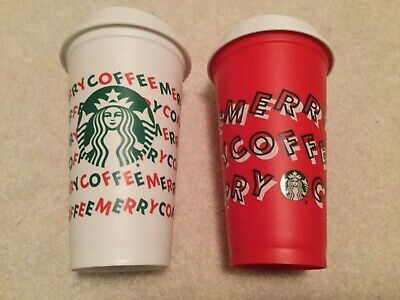 Starbucks 2019 Red & White Two Reusable Cups Grande 16oz. Merry Coffee Christmas