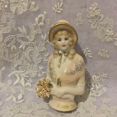"""Porcelain Half Doll """"small Marianne"""" approx 8.5.cms tall painted in pale apricot"""
